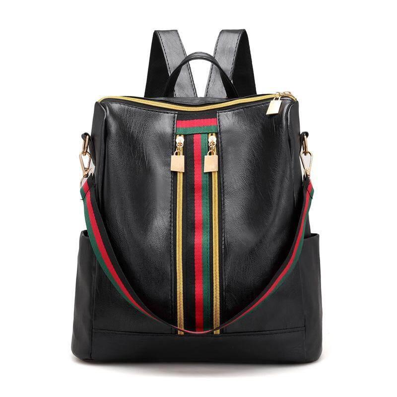7d14596631 Leisure Simple Zipper Women Travel Stripe Mini Small Backpacks PU Leather  Waterproof Totes Luxury Luggage Duffle