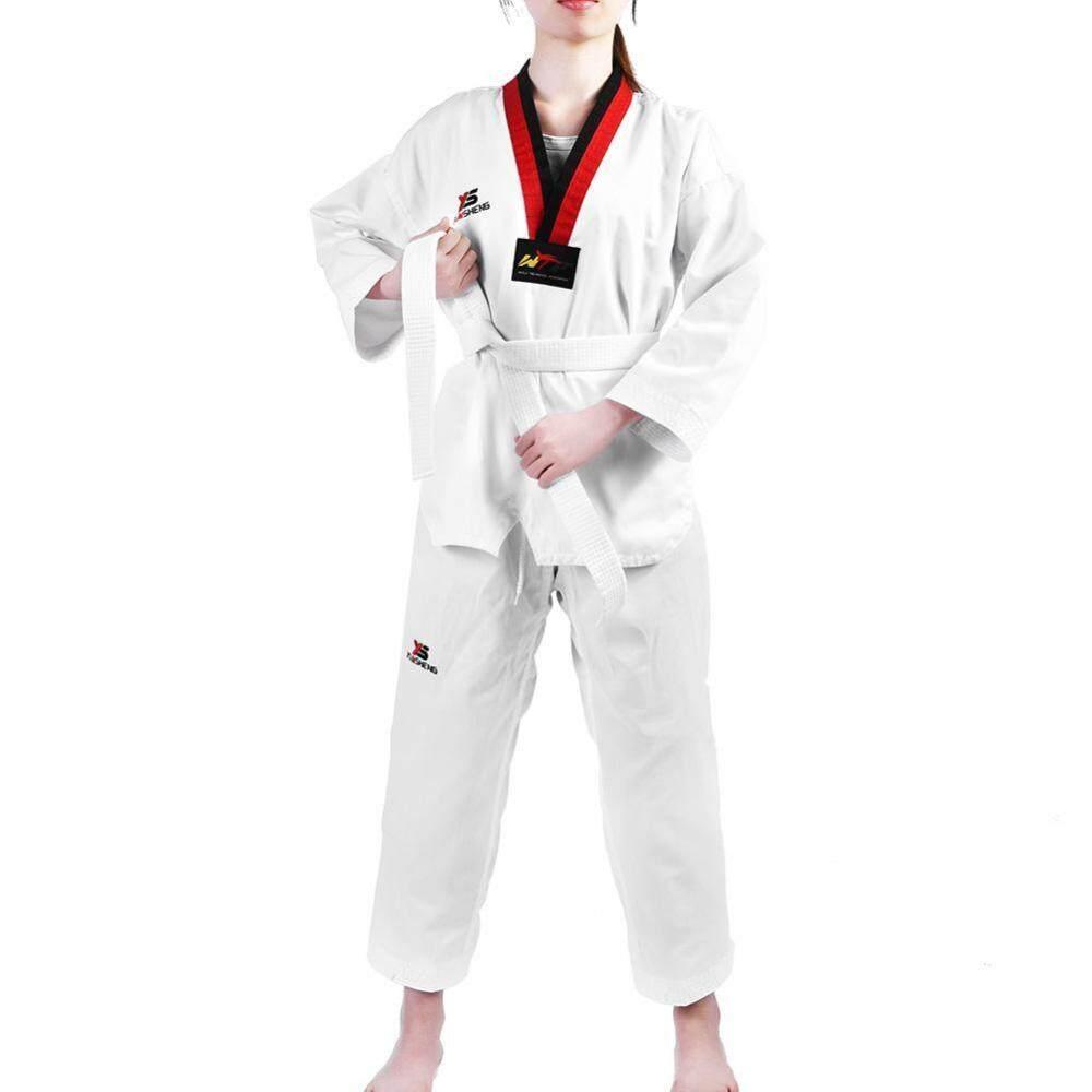Hình ảnh Full Cotton Taekwondo Uniform Sportwear Karate Costume for Adults & Kids (120) - intl