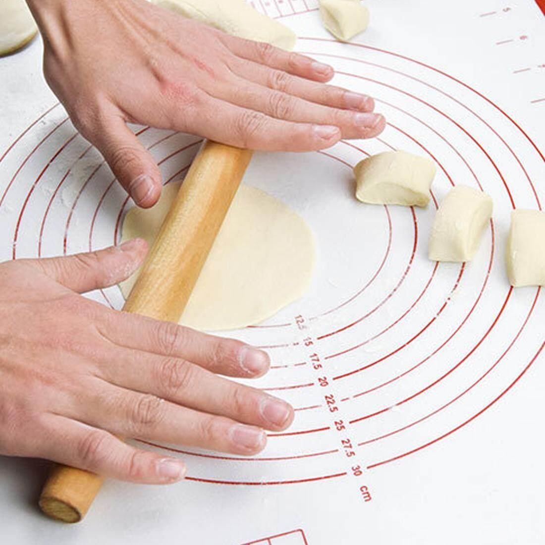 40X60 Cm Silikon Fiberglass Loyang Penggulung Adonan Kue Kering Kue Bakeware Penggaris Alas Alas Oven Pasta Alat Memasak -Internasional
