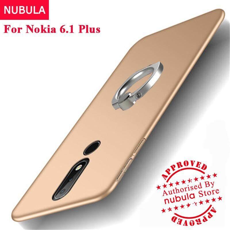 Nubula untuk Nokia 6.1 Plus Case 360 Derajat Ultra-Tipis Cangkang Keras PC Case untuk Nokia 6.1 Plus Nokia X6 dengan cincin Jari Logam-Intl