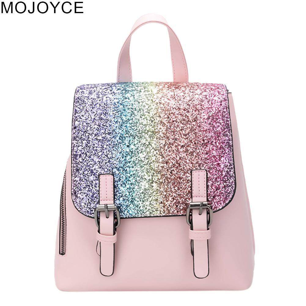 b00a0cf23b5 MOJOYCE PU Leather Women Backpack Girl Sequins Travel Flap Party Shoulder  Schoolbag