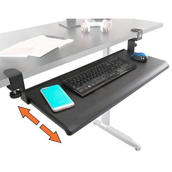 Stand Steady Clamp On Keyboard Tray - Extra Large Size - Easy Clamp - No Need to Screw into Desk! Slides Under Desk - Easy 5 Minute Assembly - Perfect for Office, Home, or School - intl