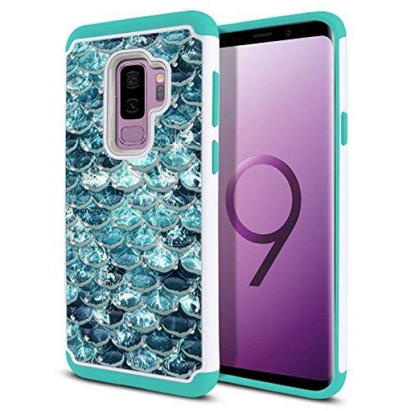 Smartphone Cases FINCIBO Case Compatible with Samsung Galaxy S9 Plus (6.2 inch) Hybrid, Dual Layer Hybrid Hard Back Protective Cover Anti Shock TPU Silicone Spot Rhinestone, Mermaid Scales Blue Wave / Teal - intl