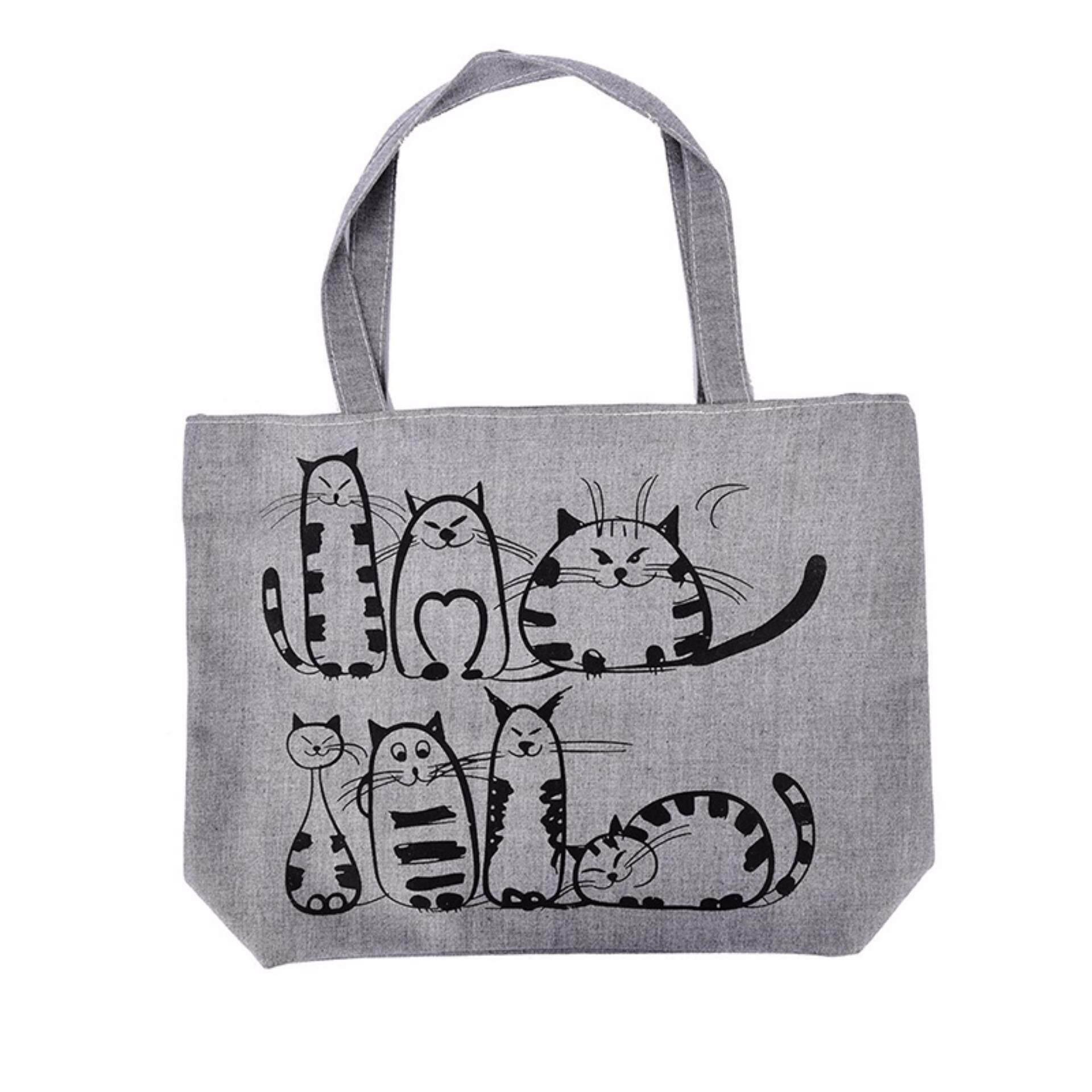 Cartoon Printed Beach Zipper Bag Canvas Tote Shopping Handbags Shopper Tote