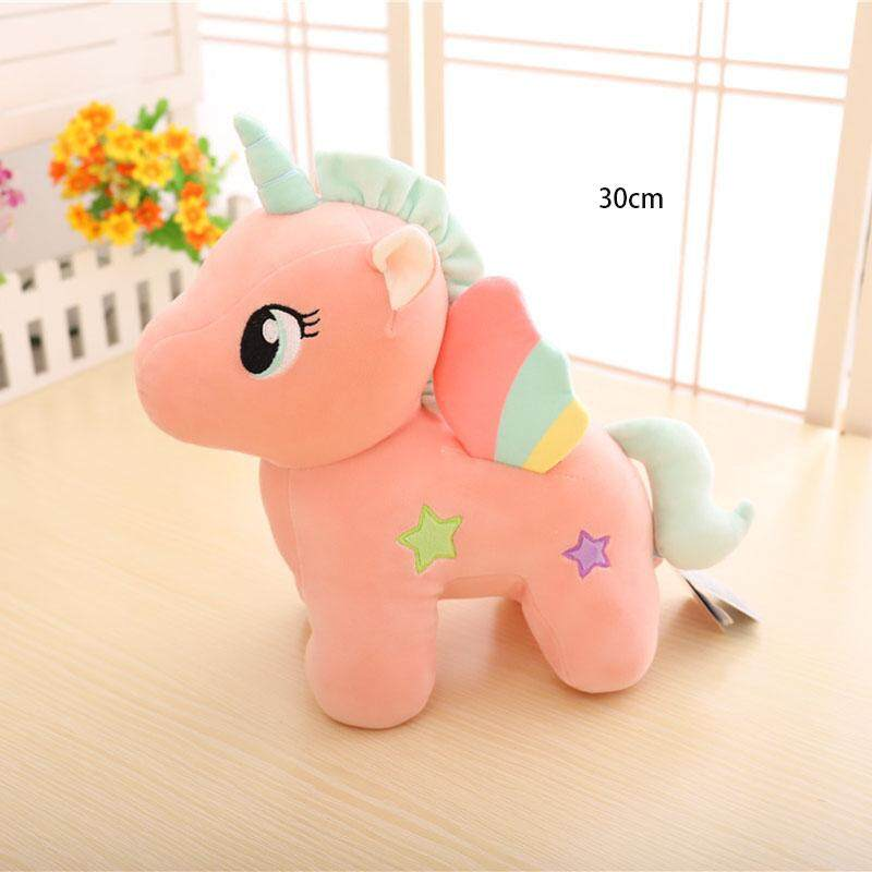 3 Colors 2 Sizes Stuffed Animal Yellow Blue Pink Unicorn Plush Toy Doll Birthday Gift -