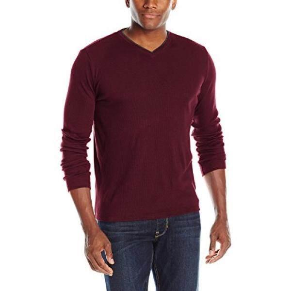 Calvin Klein Mens Long Sleeve Ribbed V-Neck T-Shirt, Deep Ruby, - intl