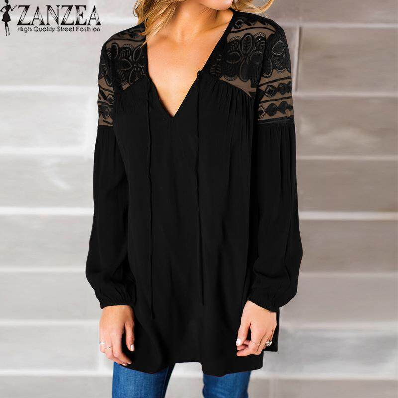 c702416ce97 ZANZEA Women V Neck Lace Floral Long Sleeve Loose Party Top Shirt Blouse -  intl