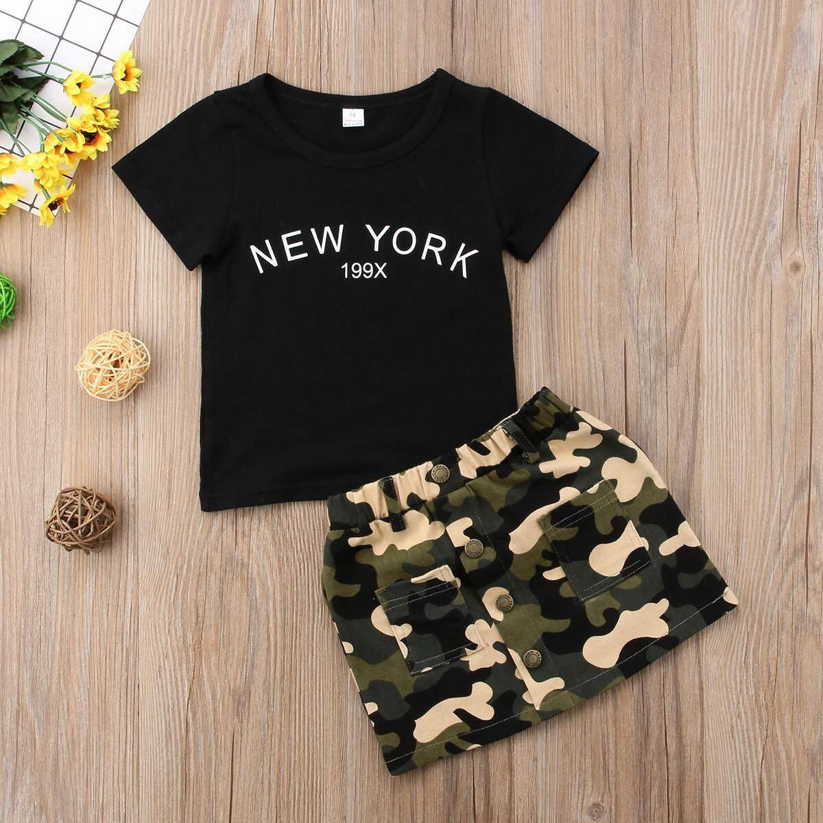 Set Pakaian Bayi Perempuan Terbaik Lazada Kaos Pria Lengan Pendek Cabanna Black Floral Shirt Balita Atasan Camo Rok Kasual 2 Pcs Musim Panas Setelan