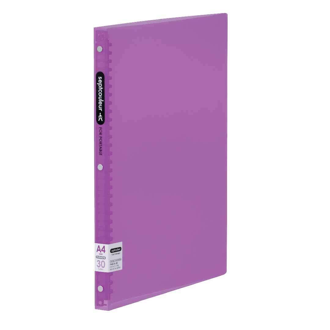 SEPT COULEUR A4, 30 Holes, 60 Sheets, 18 Spine Width - Light Purple