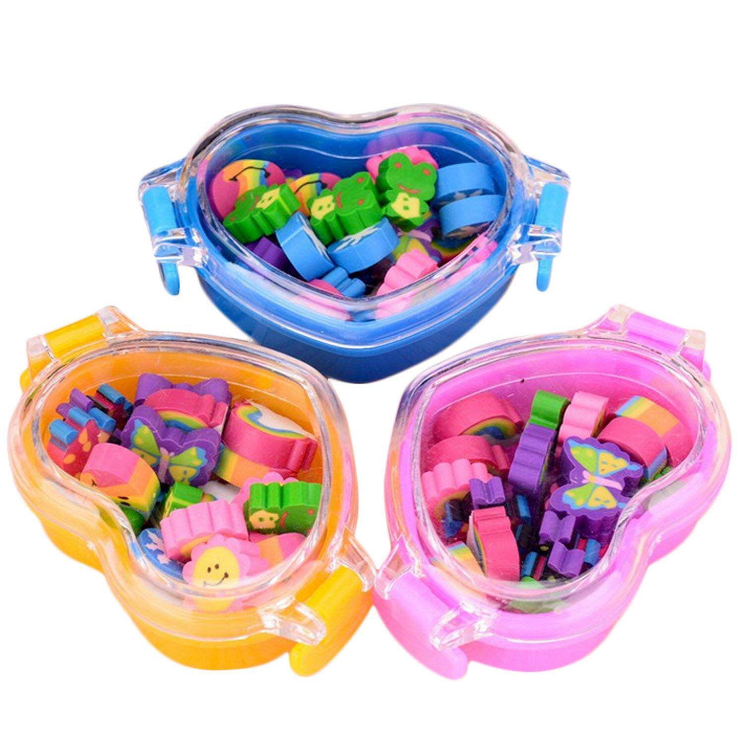 3 Boxes 63 Pcs Mini Cute Rubber Pencil Eraser School Office Stationery Supplies Party Favor Gift For Children Students Sqaure Shaped Box - Intl By Stoneky.