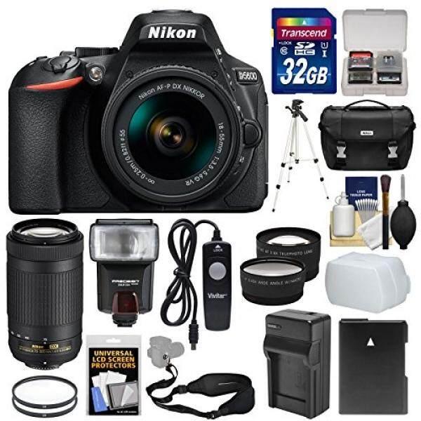 Nikon D5600 Wi-Fi Digital SLR Camera with 18-55mm VR & 70-300mm DX AF-P Lenses + 32GB Card + Case + Flash + & Charger + Tripod + Tele/Wide Lens Kit