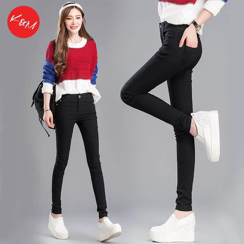 KM Women Black Cotton Elastic Chinos [M11196]