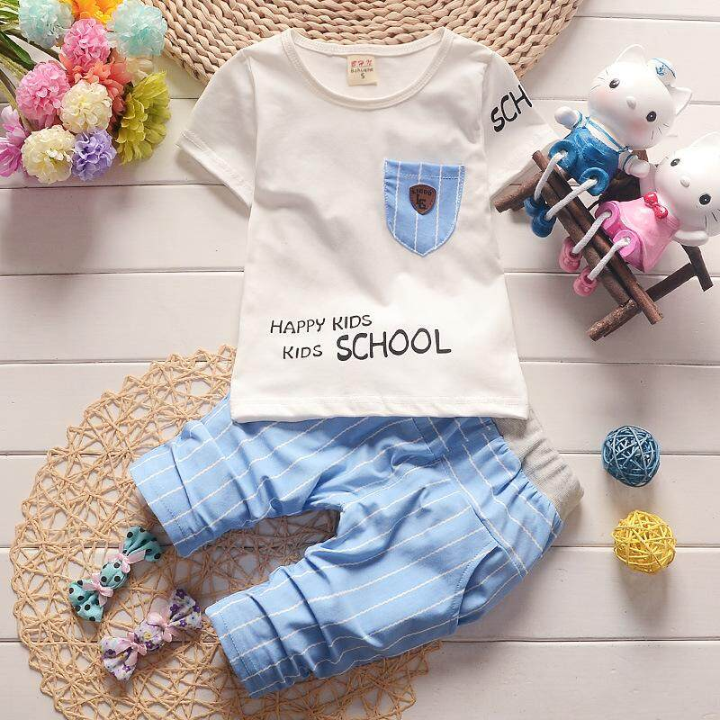 Children's Suits For Boys Girls Kids Short Sleeves Tshirts + Trousers Suits Cotton Baby Summer Wear
