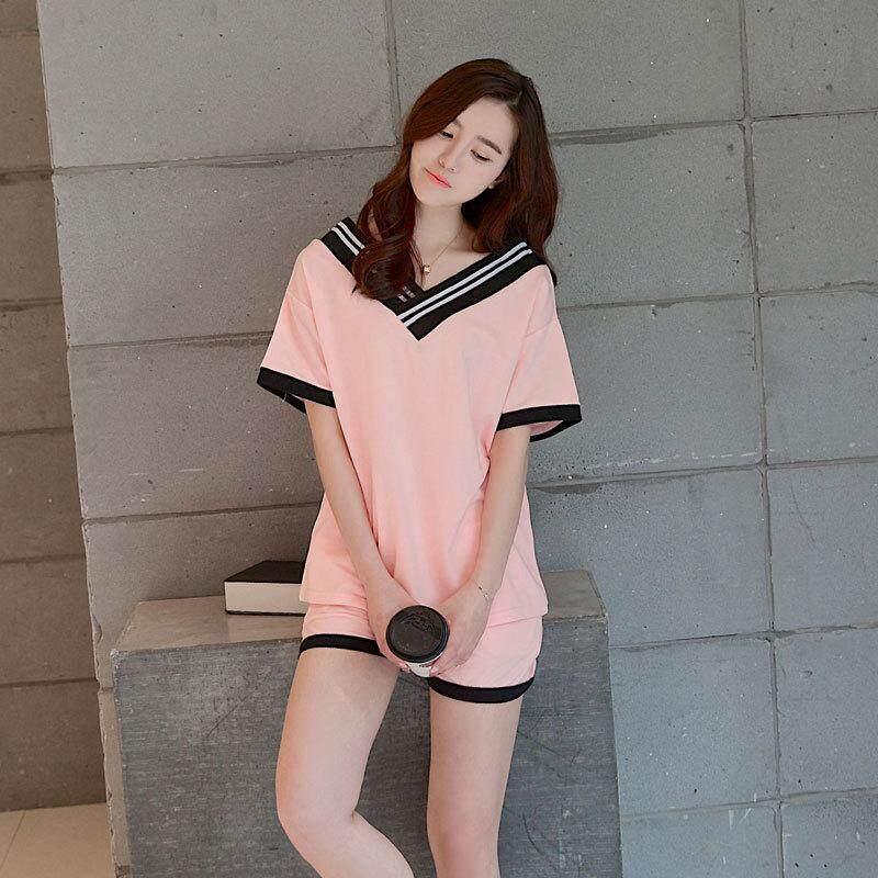 Landen Ms. ชุดนอนฤดูร้อนใหม่บ้านเสื้อผ้าแฟชั่นเกาหลีหลวมสตรีแขนสั้นชุดนอนแบบสบายๆ La06lawyl156 - Intl By Landen.