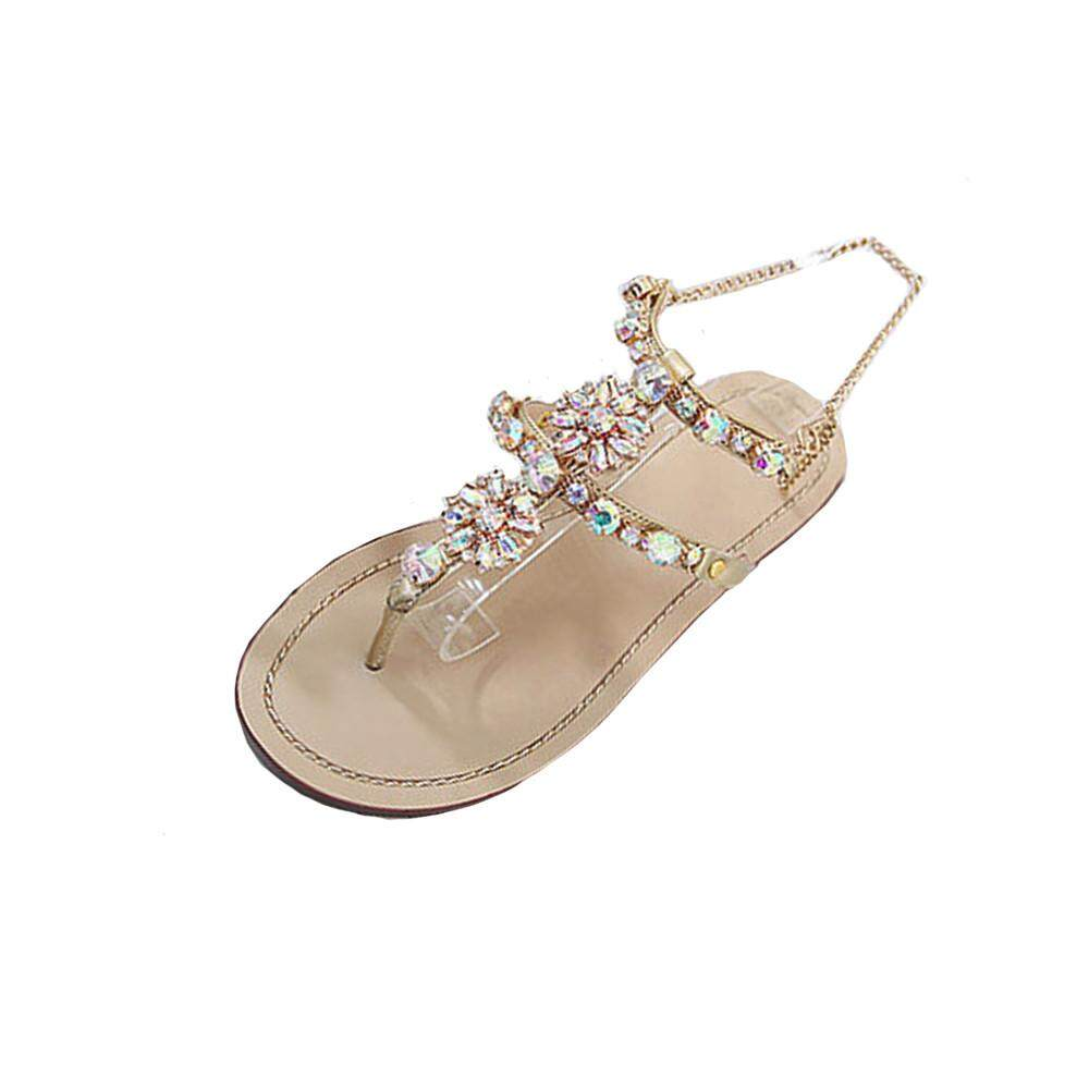 fbf358aca50d Womens Summer Flat Shining Rhinestones Chain Sandals T-strap Comfortable  Shoes - intl