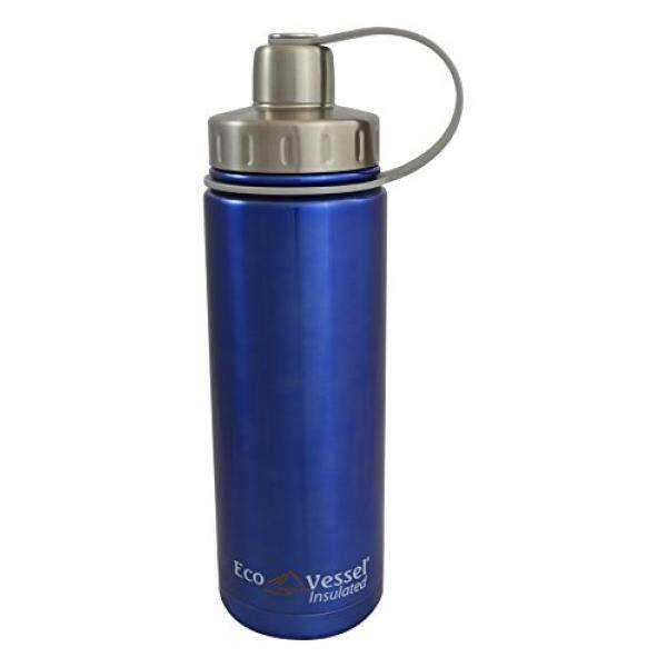 EcoVessel BOULDER TriMax Dual Opening Insulated Stainless Steel Water Bottle with Tea - Fruit and Ice Strainer - 20 oz. - Blue - intl