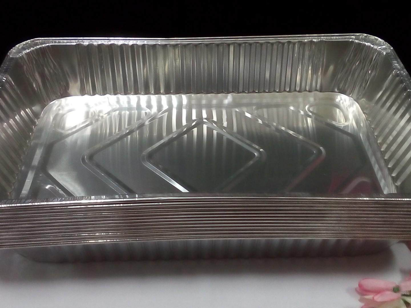 10 pieces Aluminium Tray L for Buffet, Catering, Wedding, Food Expo. Same Day Ship (Chrome)