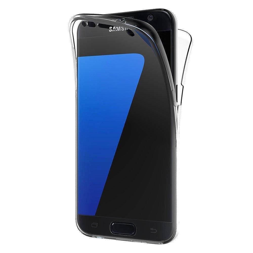 Untuk Samsung Galaxy S7 Edge Case, 360 Derajat Perlindungan Menyeluruh Lembut Bening Case Shockproof Silikon Transparan Sarung Telepon Genggam