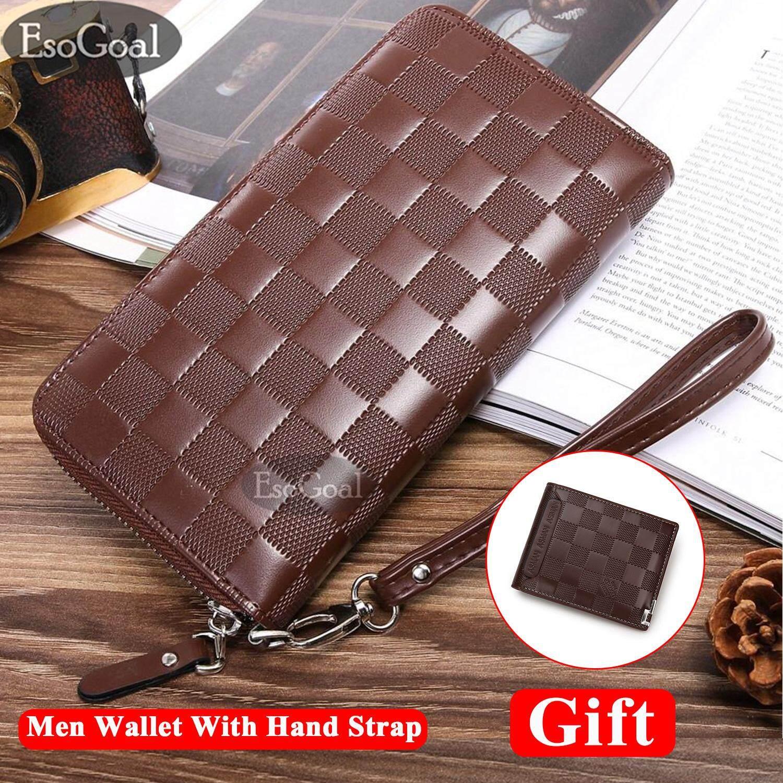 EsoGoal Men PU Leather Wallet Korean Style Long Zipper Wallet Coin Purse New Professional Men Fashion