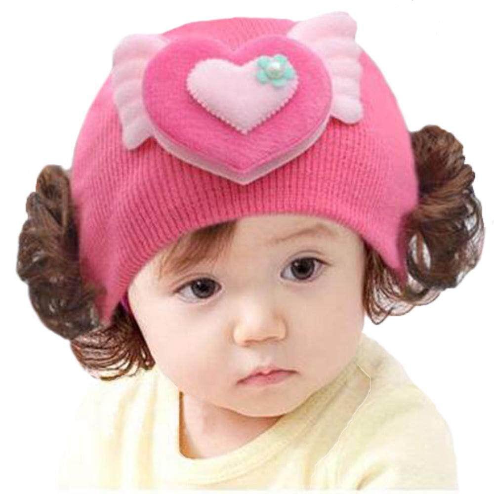 30cc1fc6e4f Jnan New Female Baby Wig Hat Infants And Children s Cartoon Woolen Cover  Knit Autumn And Winter
