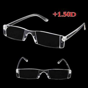 Rimless Reading Glasses Case Bag Metal Temple from 1.00 to 4.00 Diopter Clear (150 degrees)