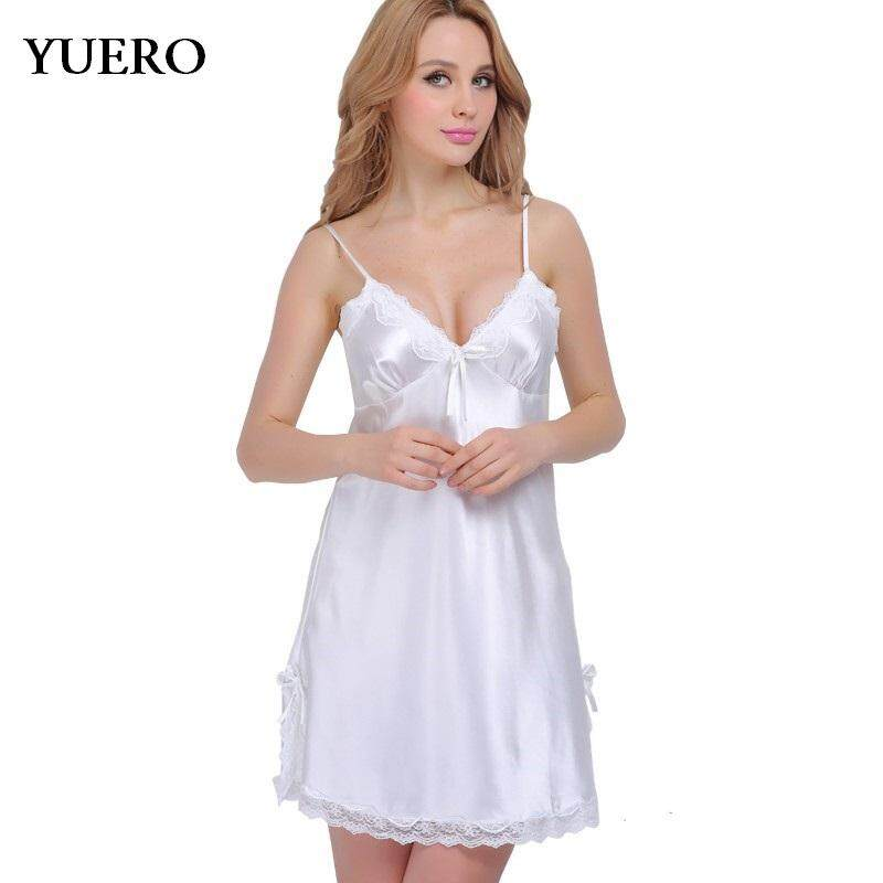 Yuero Summer Women Plus Size Adjustable V-neck Lace Ice Silk Imitated Silk  Bowknot Vintage bb1e252ed