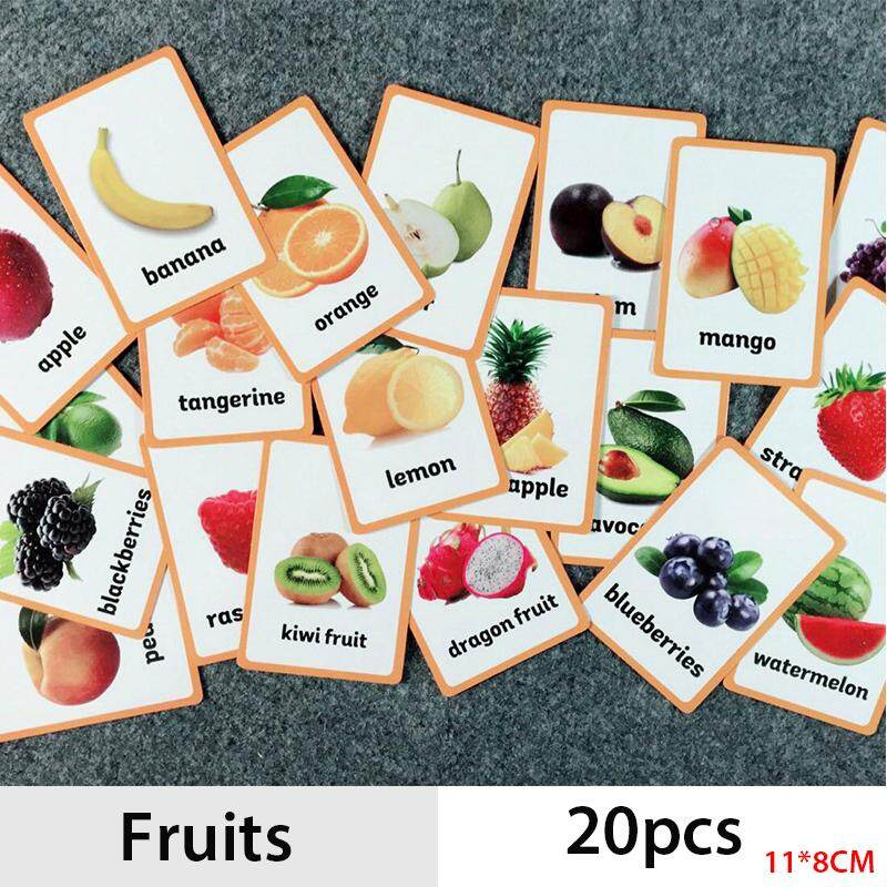 20pcs/set Children Fruits English Cognitive Flash Card Cognition Learning Early Educational Toys Baby Flash Card For Kids Gifts By La Chilly.