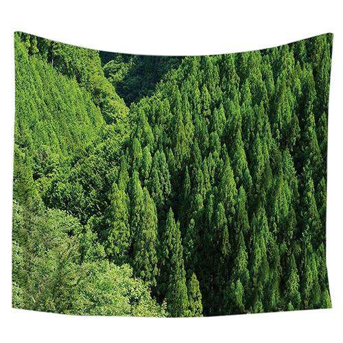 (130x150 Cm) Wall Hanging Bedspread Beach Tapestry Towel Yoga Mat Blanket Curtain Table(Green trees) - intl