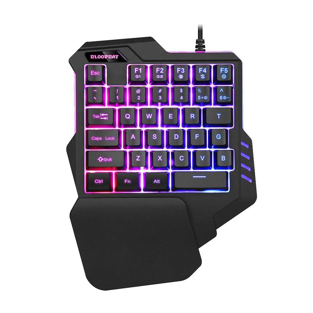 Hxm One - Handed แป้นพิมพ์สีสันแบ็คไลท์ Rgb Non - Mechanical คีย์บอร์ดเล่นเกมสำหรับโทรศัพท์มือถือเกมคอมพิวเตอร์ By Wangsd.