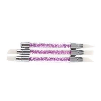 3pcs Rhinestone Handle Silicone Paint Pen Nail Tool (DEEP PURPLE)