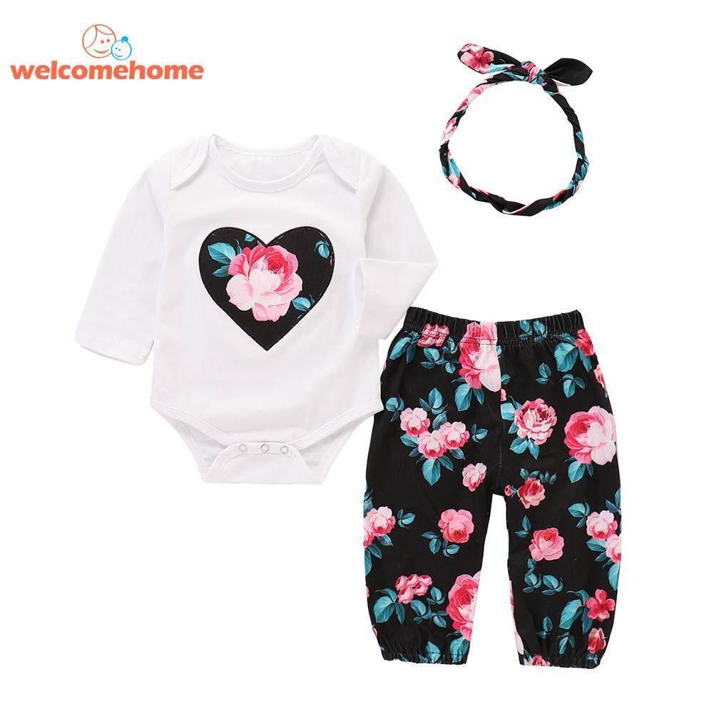 f39a0a2e42041 Newborn Baby Girls Floral Print 3pcs Cute Clothes Set Romper Pants  Headband(Black)-0-3 months