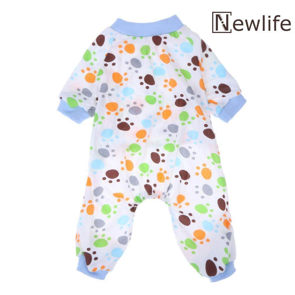 8c2d59b45a1f5 Dog Claw Printed Cotton Pet Sleep Jumpsuit Knitting Puppy Pajamas  Clothes(Blue)-L - intl