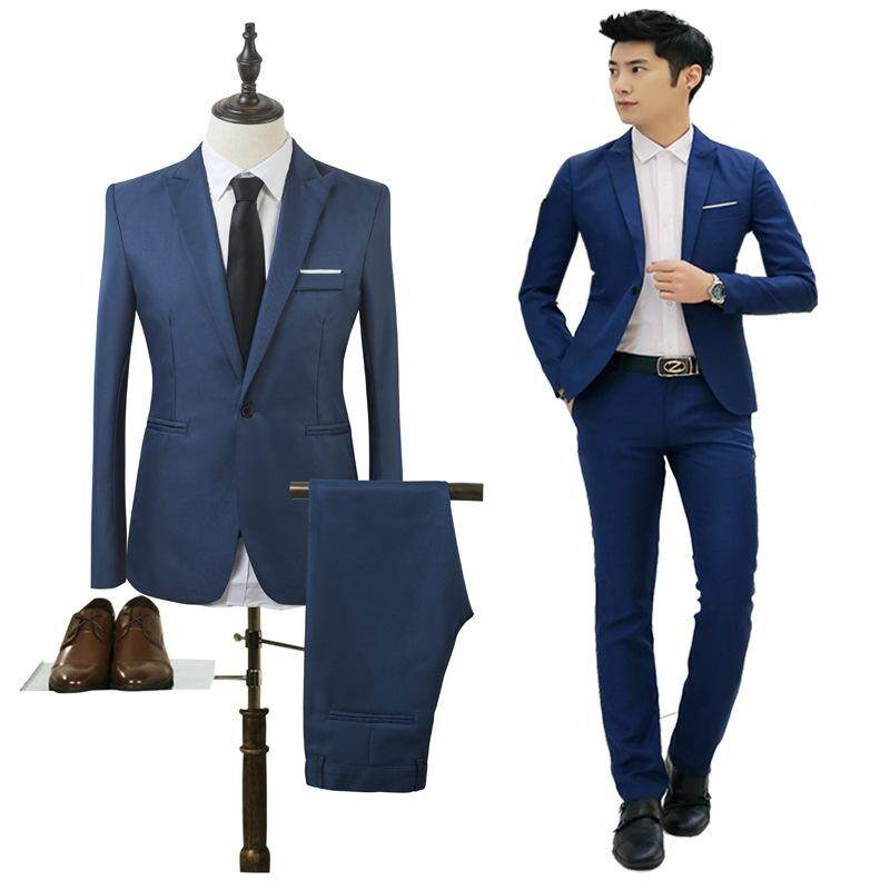 c9f38c120796 2Pcs ( Suit jacket & pants ) Men Business Suit Set Slim Fit Casual Formal  Suits