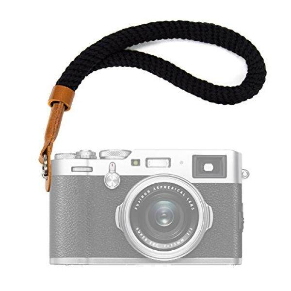 Black Cotton Camera Hand Wrist Strap for Fujifilm X100F X-T20 X-T2 X70 X-Pro2 X-E3 X-E2 X30 XQ2 X100 X100S X100T for Sony A6000 A6300 A6500 A5100 A5000 RXIR II RX10 Cameras Adjustable Safety Strap