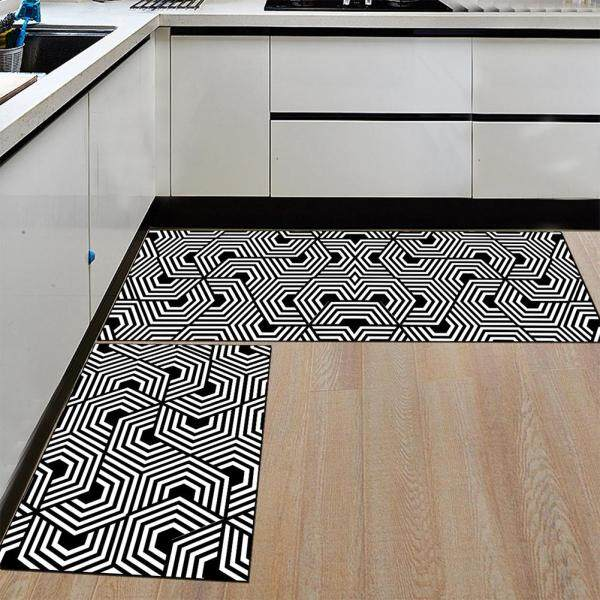 2Pcs Rectangle Non-slip Soft Floor Mat Water Absorbing Rug for Home Bathroom Kitchen