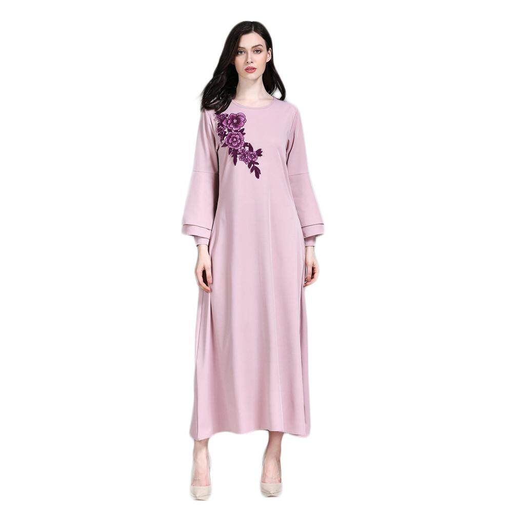 Docesty Muslim Women Islamic Pure Color Embroider Plus Size Middle East Long Dress