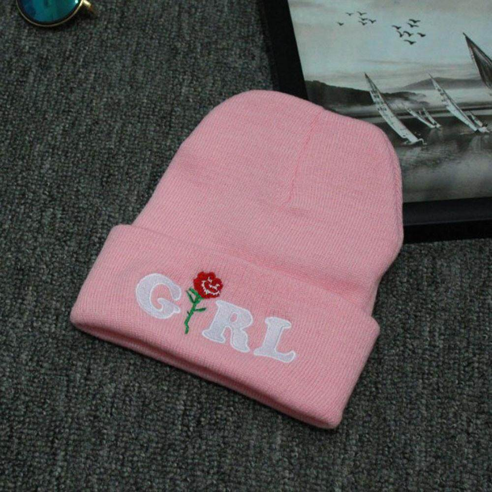 Jual Women Girl Rose Embroidered Beanie Stocking Cap Hiking Cuffed Knit Hat  Black bdc07a770b