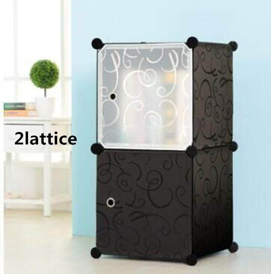 Simple bookcase, free combination toy storage cabinet, assembled bookshelf rack, modern minimalist DIY bookcase (2lattice)