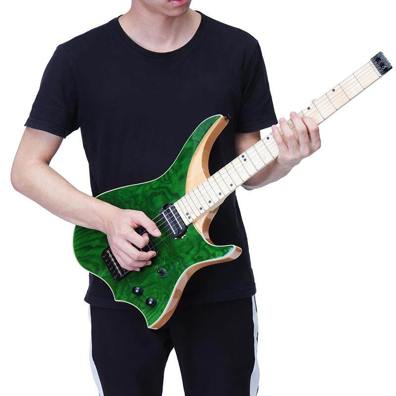 Green 6 Strings Ash Wood Neck Top Solid Flame Maple Fingerboard Electric Guitar By Glimmer.
