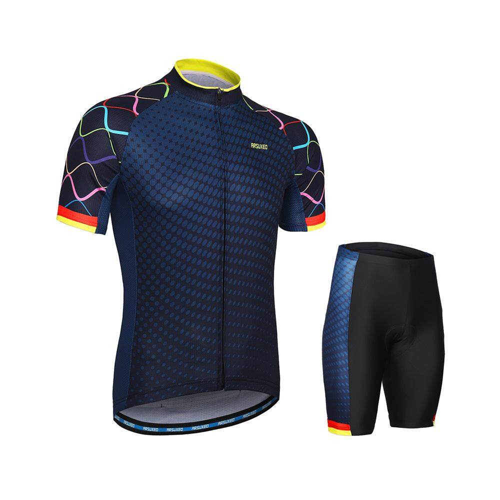 df612e1b2 ARSUXEO Men s Cycling Clothing Set Short Sleeve Set Quick-dry Shirt 3D  Cushion Padded Short