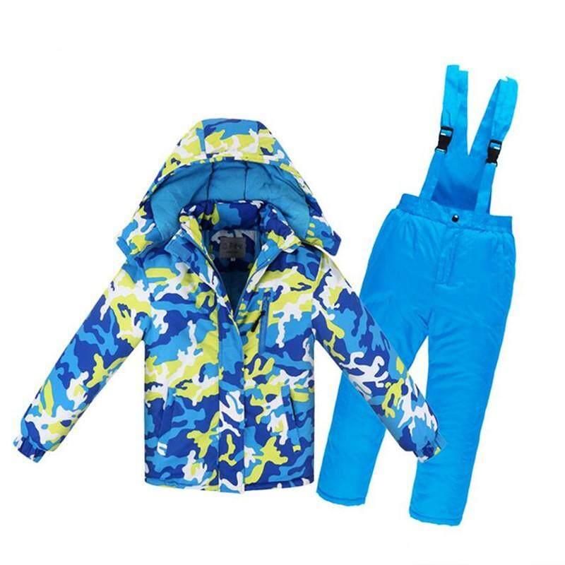 Szwl Anak Laki-Laki/perempuan Setelan Ski Celana Tahan Air + Setelan Jaket Olahraga Musim Dingin Tebal Pakaian By Szwl Trade.