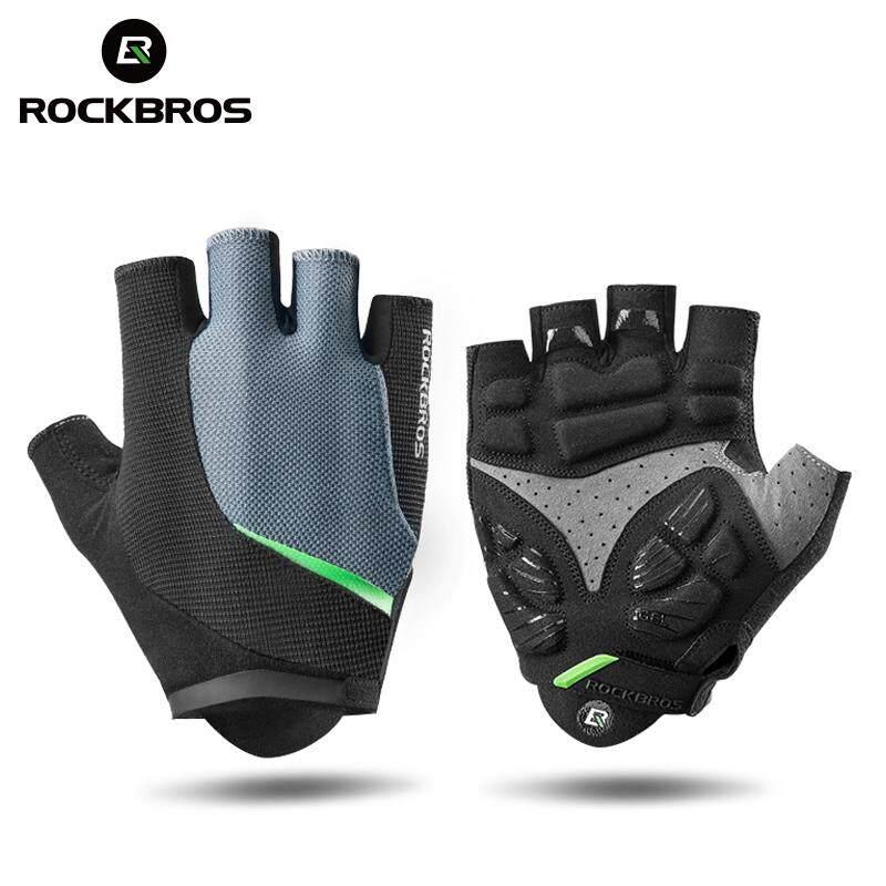 ROCKBROS Half Finger Cycling Gloves Gel Pad Anti-Shock Breathable MTB Bicycle Sports Gloves Elastic