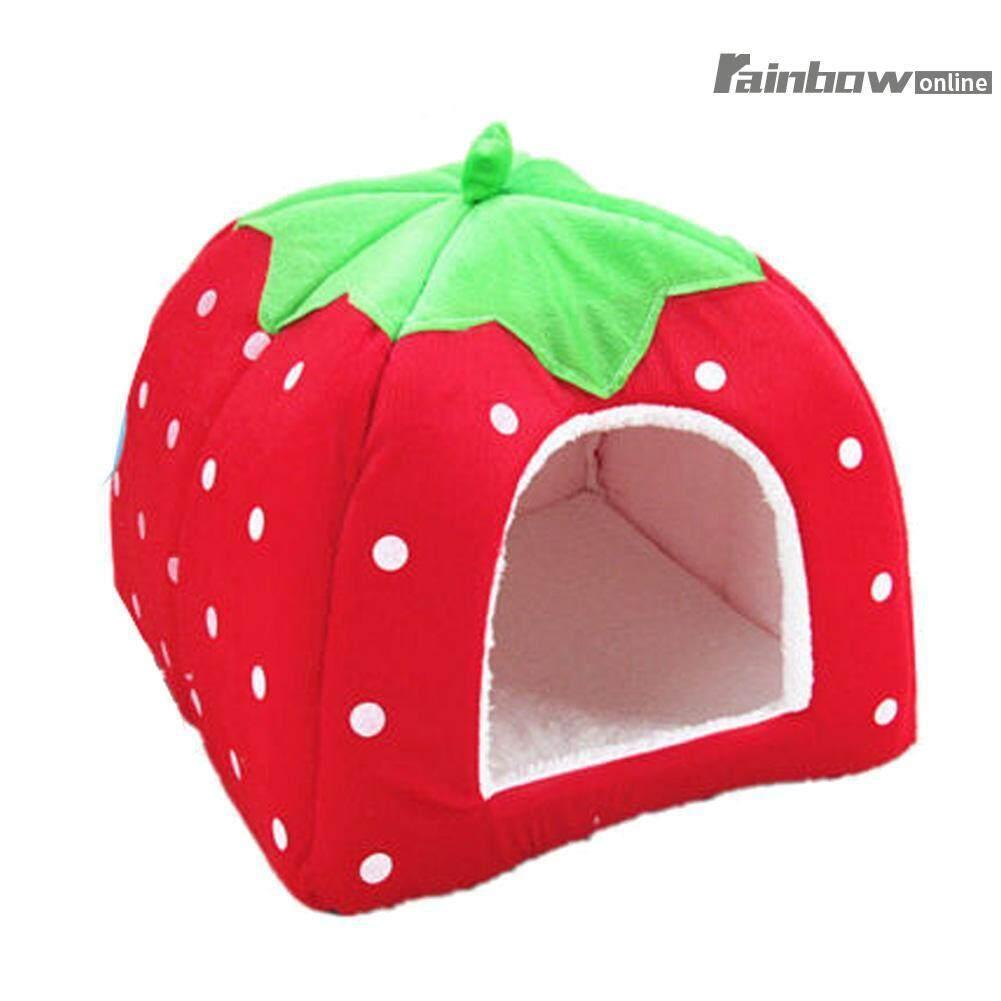 Foldable Cute Kandang Hewan Peliharaan Perjalanan Luar Ruangan Portabel Kelinci Kucing Rumah Tempat Tidur Anjing Strawberry Berbentuk Anjing Bantal Kandang Keranjang-Intl By Rainbowonline.