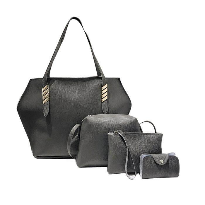 Maze Hexa 4 in 1 Tote Handbag Sling Bag Pouch PU Leather Set Women Fashion Handbeg