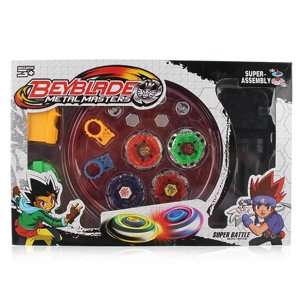 Qimiao 4pcs/set Cool Burst Beyblade Arena Spinning Top Alloy Kids Fighting Gyro Game Toys