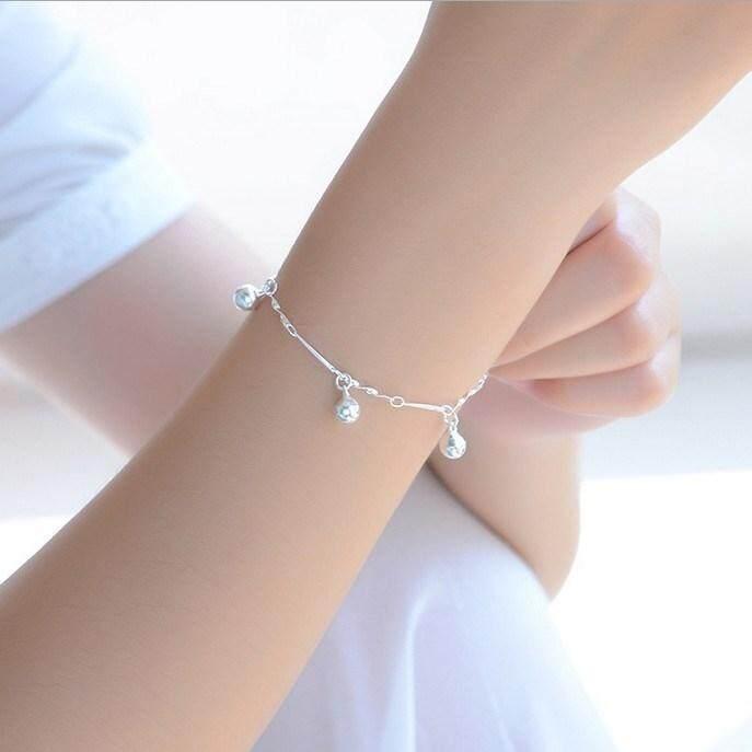 【Perak Single Layer Scrub Bead Bracelet】Gelang Jepang dan Korea siswa perempuan sekolah menengah