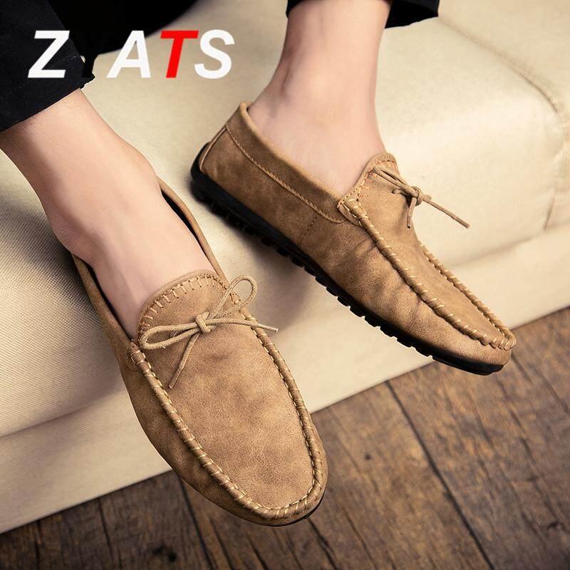 Detail Gambar Zyats 2018 Kulit Baru Laki-laki Datar Sepatu Bernapas Santai Loafer Selip-On Sepatu Terkini