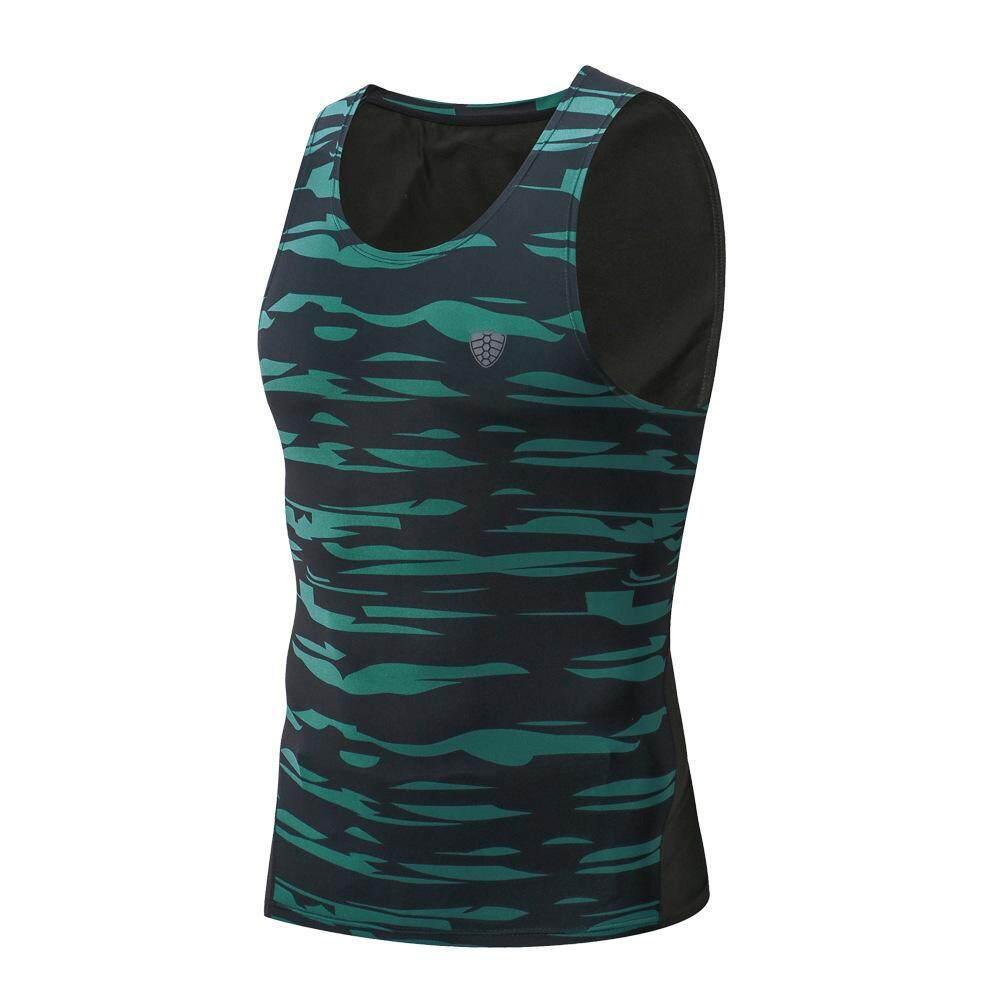 Pria Baju Lari Celana Ketat Kompresi Gym Tank Top Fitness Tanpa Lengan T-shirt Kamuflase