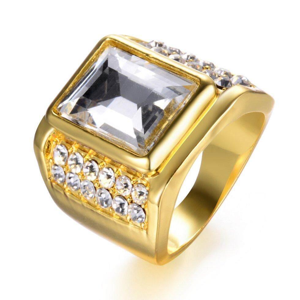 Goft Hip Hop Gaya Pria Wanita Cincin dengan Kotak Besar Berlian Imitasi Perhiasan Pernikahan (10