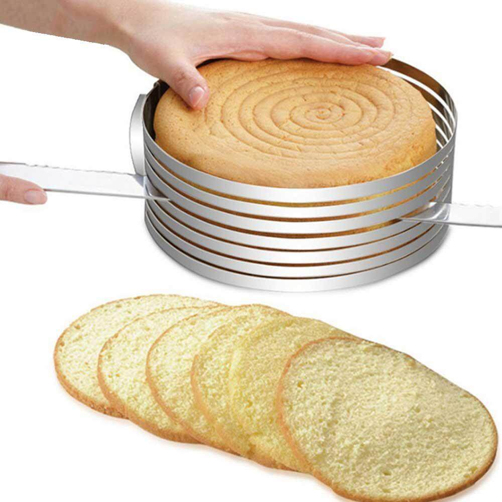 Kobwa Stainless Steel DIY Adjustable Retractable Circular Ring Cake Layered Slicer Cake Baking Mold